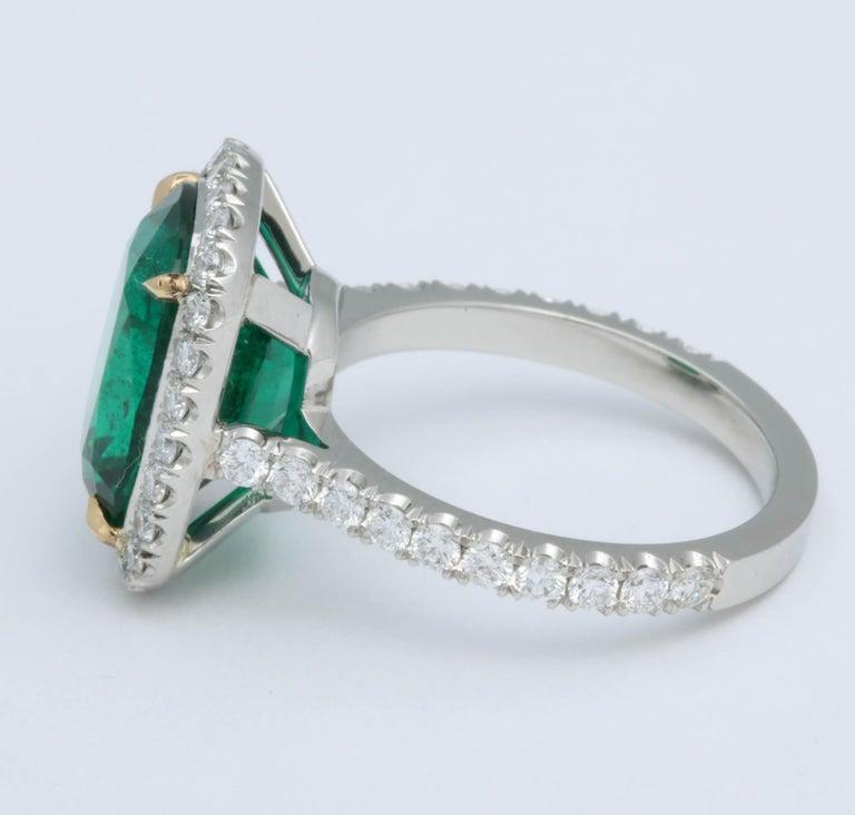 Women's 5 Carat Green Emerald Cushion Cut Diamond Halo Ring GIA Certified No Oil