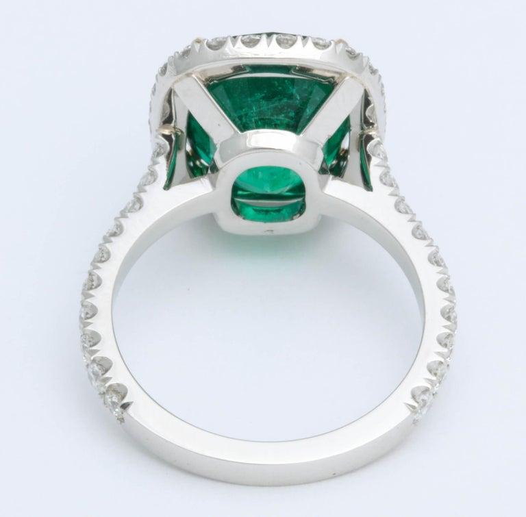5 Carat Green Emerald Cushion Cut Diamond Halo Ring GIA Certified No Oil 1