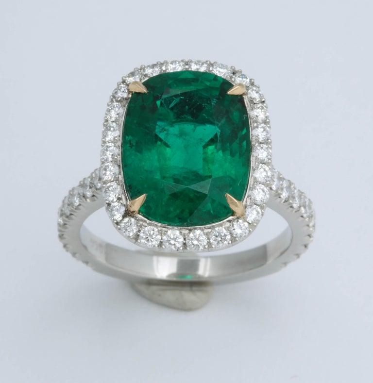 5 Carat Green Emerald Cushion Cut Diamond Halo Ring GIA Certified No Oil 2