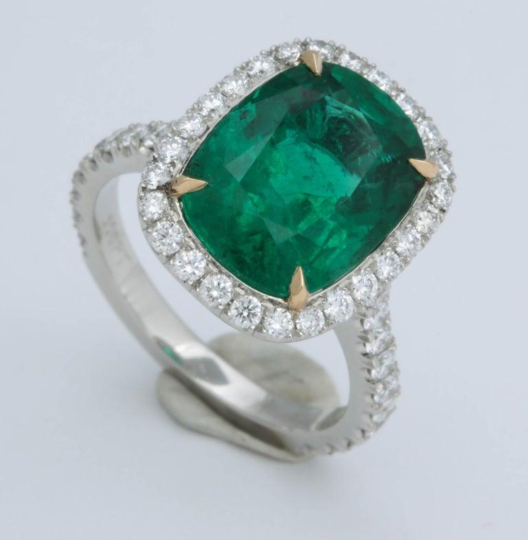 5 Carat Green Emerald Cushion Cut Diamond Halo Ring GIA Certified No Oil 3