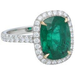 5 Carat Green Emerald Cushion Cut Diamond Halo Ring GIA Certified No Oil