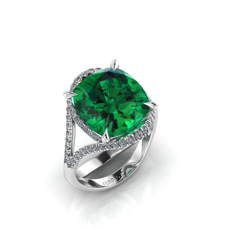 5 deep electric Green natural Tourmaline in a one of a kind, hand made Platinum 950, adorned by 0.60 carats of white diamonds pave, designed and conceived in New York City.  This ring is made to order to guarantee the absolute immaculate conditions