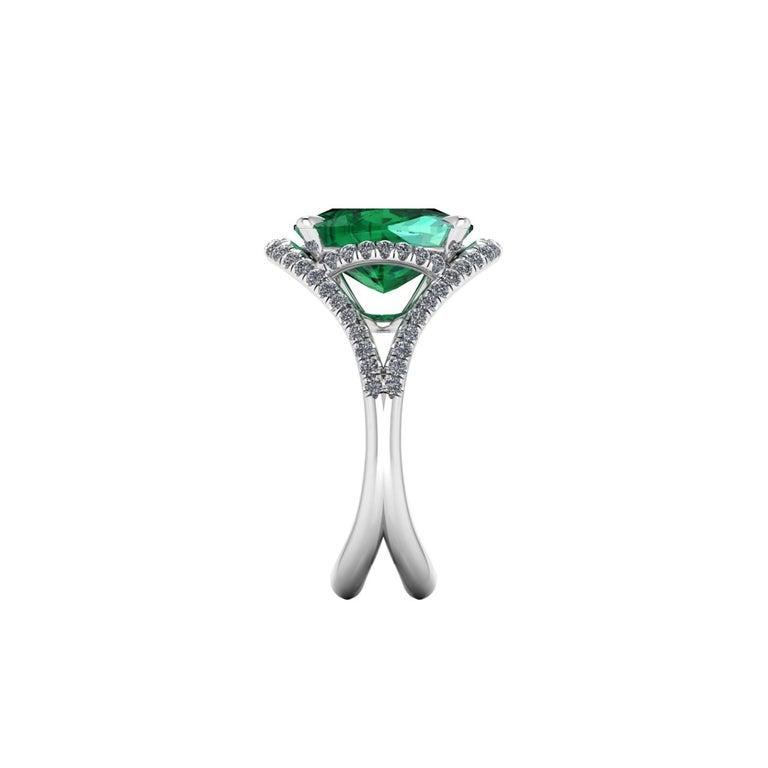 Modern 5 Carat Green Tourmaline Cushion Cut Diamonds Platinum 950 Cocktail Ring For Sale