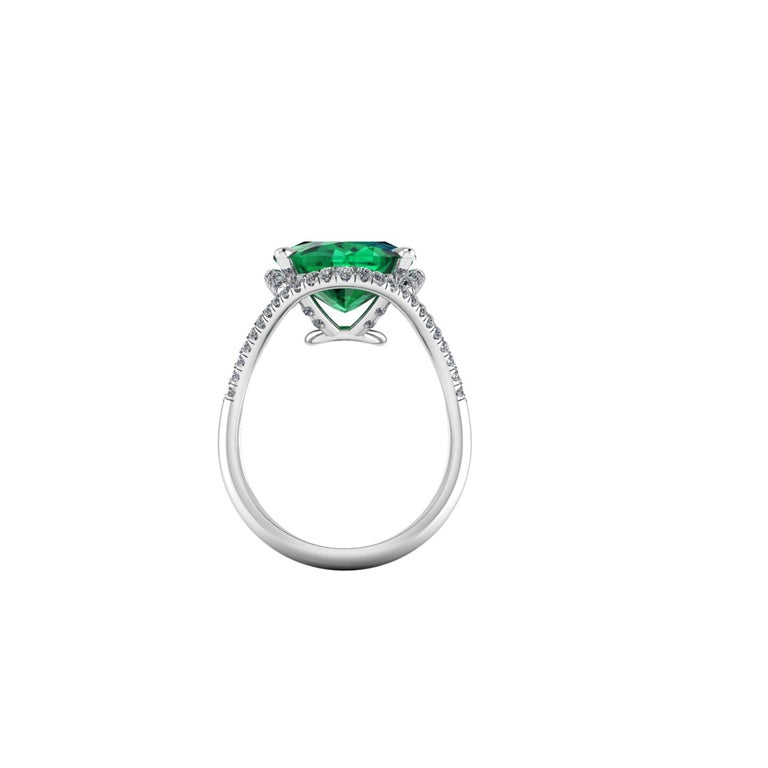 5 Carat Green Tourmaline Cushion Cut Diamonds Platinum 950 Cocktail Ring In New Condition For Sale In Lake Peekskill, NY