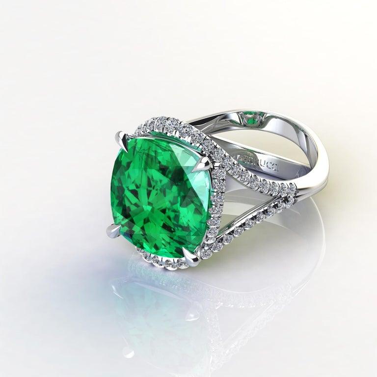 Women's 5 Carat Green Tourmaline Cushion Cut Diamonds Platinum 950 Cocktail Ring For Sale