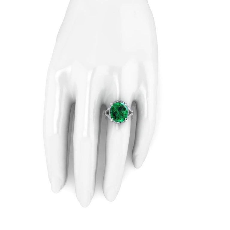 5 Carat Green Tourmaline Cushion Cut Diamonds Platinum 950 Cocktail Ring For Sale 1