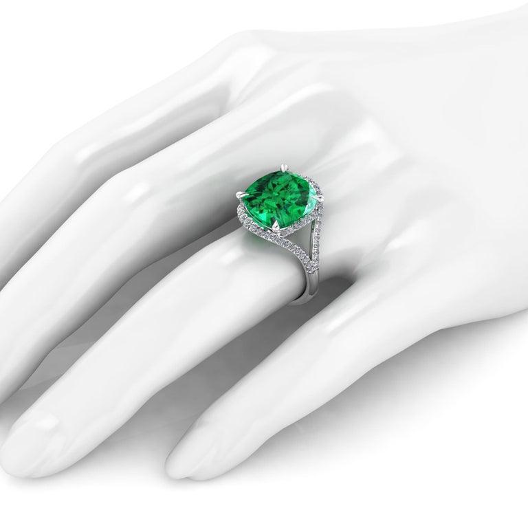 5 Carat Green Tourmaline Cushion Cut Diamonds Platinum 950 Cocktail Ring For Sale 2