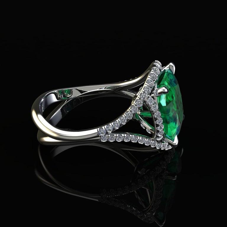 5 Carat Green Tourmaline Cushion Cut Diamonds Platinum 950 Cocktail Ring For Sale 3