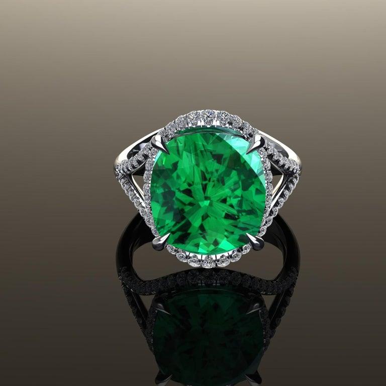 5 Carat Green Tourmaline Cushion Cut Diamonds Platinum 950 Cocktail Ring For Sale 4