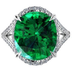 5 Carat Green Tourmaline Cushion Cut Diamonds Platinum 950 Cocktail Ring