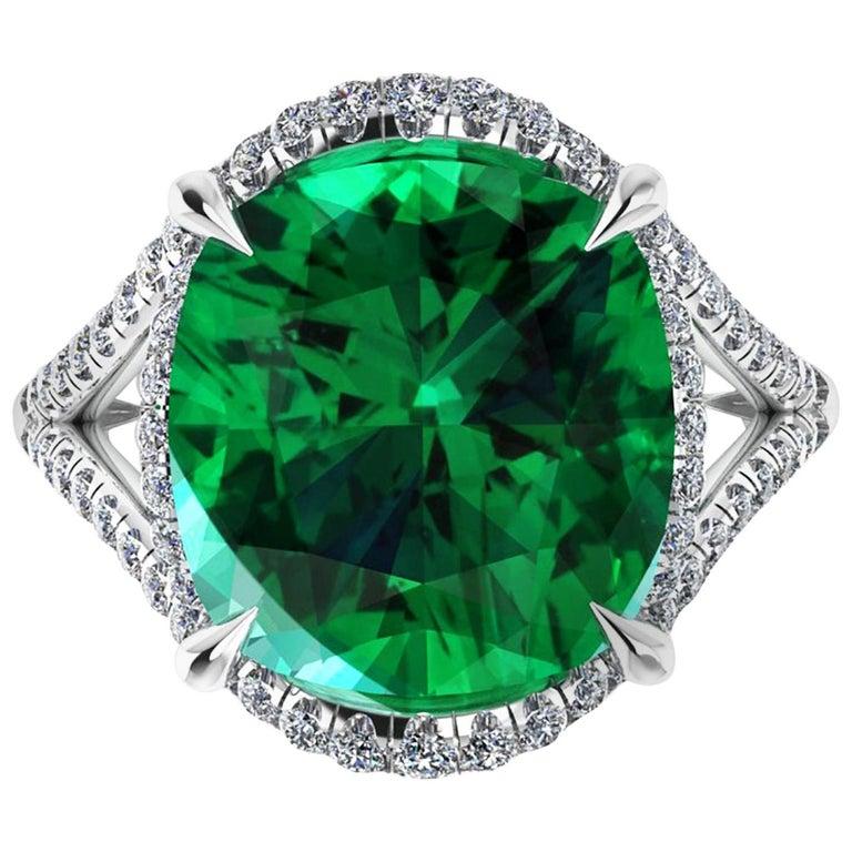 5 Carat Green Tourmaline Cushion Cut Diamonds Platinum 950 Cocktail Ring For Sale