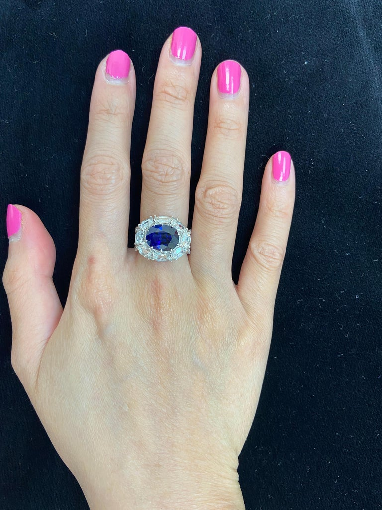 5 Carat GRS Certified Royal Blue Sapphire and White Diamond Gold Engagement Ring For Sale 4