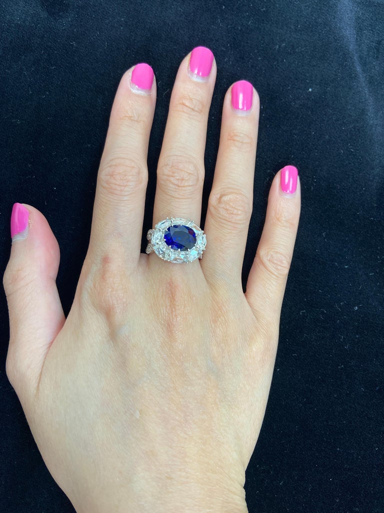 5 Carat GRS Certified Royal Blue Sapphire and White Diamond Gold Engagement Ring For Sale 5