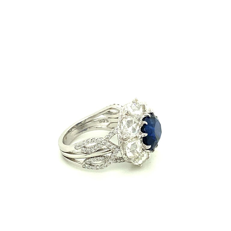 Contemporary 5 Carat GRS Certified Royal Blue Sapphire and White Diamond Gold Engagement Ring For Sale