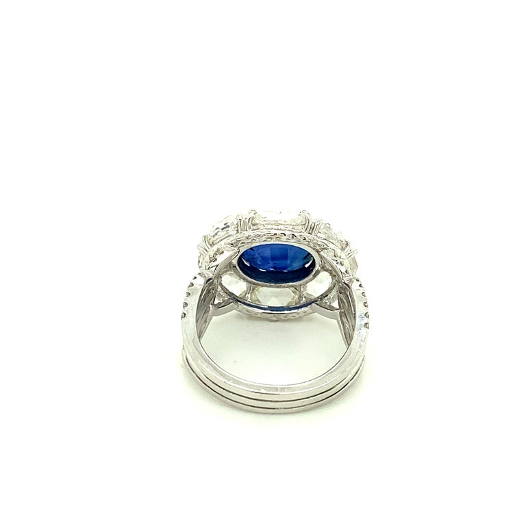 Oval Cut 5 Carat GRS Certified Royal Blue Sapphire and White Diamond Gold Engagement Ring For Sale