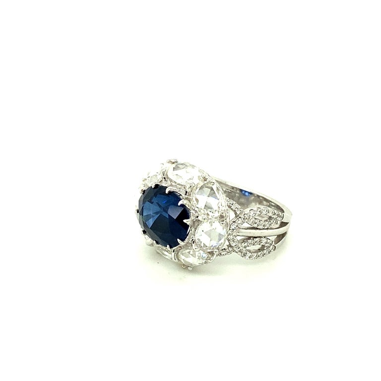 Women's or Men's 5 Carat GRS Certified Royal Blue Sapphire and White Diamond Gold Engagement Ring For Sale