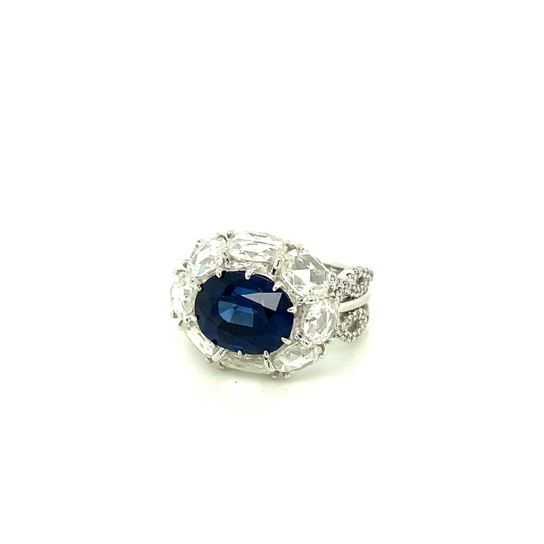 5 Carat GRS Certified Royal Blue Sapphire and White Diamond Gold Engagement Ring For Sale 1