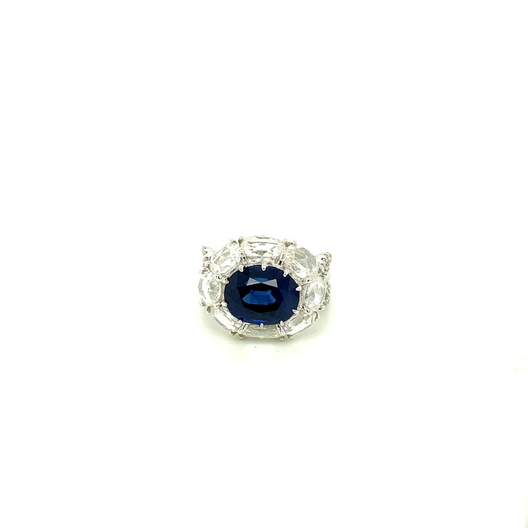 5 Carat GRS Certified Royal Blue Sapphire and White Diamond Gold Engagement Ring For Sale 2