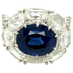 5 Carat GRS Certified Royal Blue Sapphire and White Diamond Gold Engagement Ring