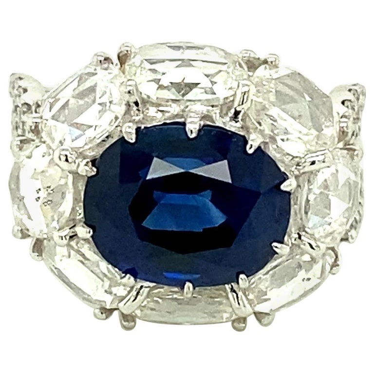 5 Carat GRS Certified Royal Blue Sapphire and White Diamond Gold Engagement Ring For Sale