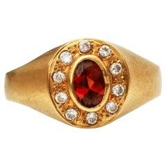 .5 Carat Imperial Topaz and Diamond 18 Karat Gold Ring