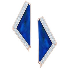 5 Carat Lapis and Princess Diamond Earrings Set in 18 Karat Rose Gold