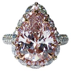 5 Carat Light Pink Pear Shape Diamond GIA VS2