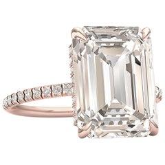5 Carat M -VS1 GIA Certified Emerald Cut Engagement Ring 18 Karat Rose Gold