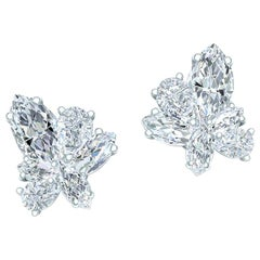 5 Carat Marquise and Pear Diamond Cluster Earrings Platinum