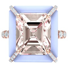 5 Carat Morganite Chalcedony and Diamond Cocktail Ring in Rose Gold