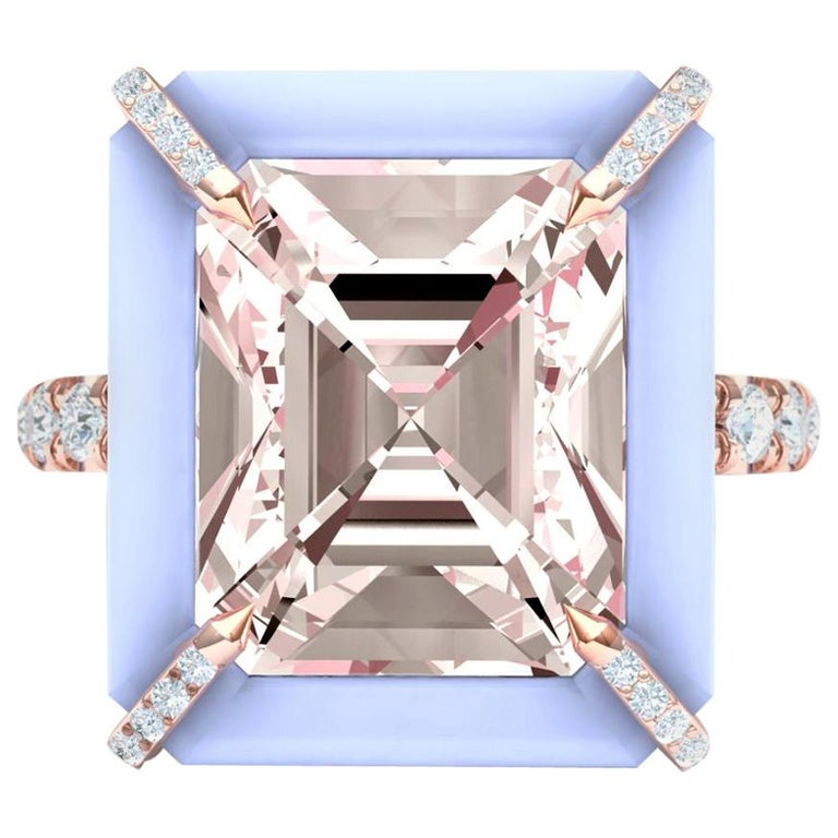 5 Carat Morganite Chalcedony and Diamond Cocktail Ring in Rose Gold For Sale