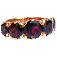 5 Carat Natural Garnets Victorian Deco Band 14 Karat Rose Gold