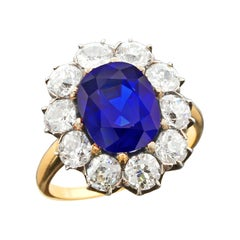 5 Carat Natural No Heat Kashmir Sapphire and Diamond Cluster Victorian Gold Ring