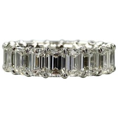 5 Carat Natural Untreated Eternity Band Emerald Cut Diamond Ring