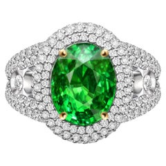 5 Carat Neon Green Tsavorite Diamonds 18 Karat White Gold Cocktail Ring