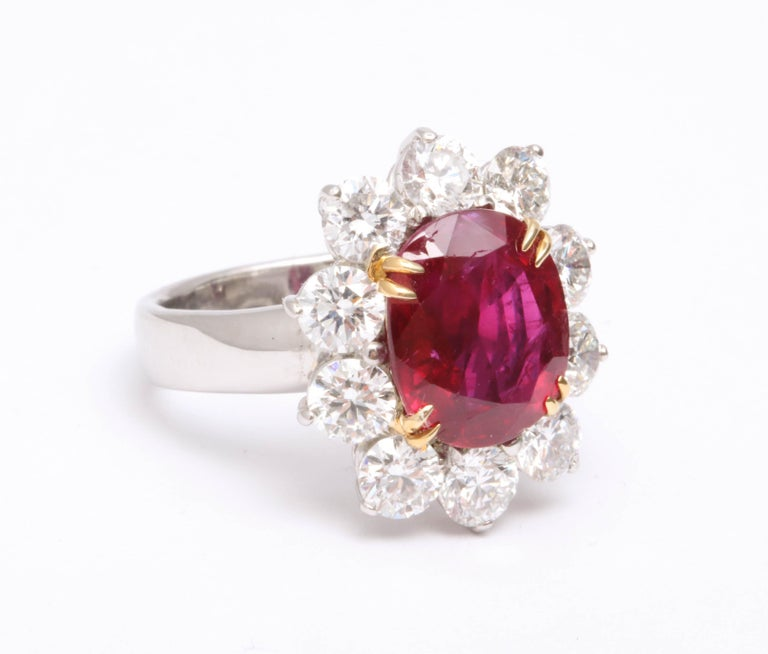 5 Carat No Heat Burma Ruby Diamond Ring In New Condition For Sale In New York, NY