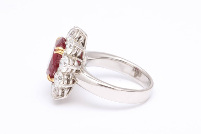 Women's 5 Carat No Heat Burma Ruby Diamond Ring For Sale