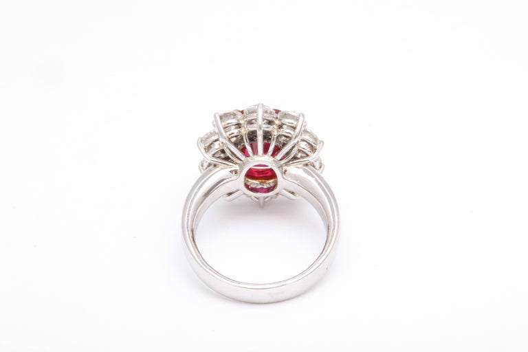 5 Carat No Heat Burma Ruby Diamond Ring For Sale 1
