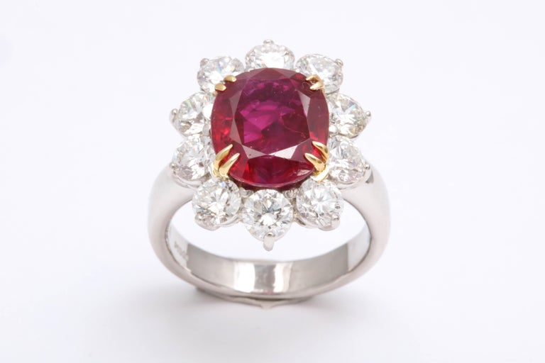 5 Carat No Heat Burma Ruby Diamond Ring For Sale 2