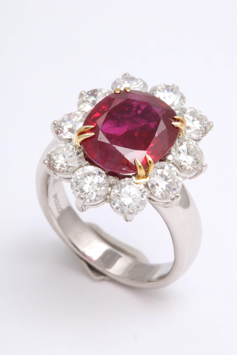 5 Carat No Heat Burma Ruby Diamond Ring For Sale 3