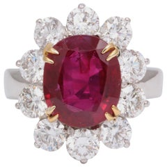 5 Carat No Heat Burma Ruby Diamond Ring