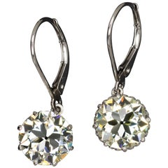 5 Carat Old European Diamond Drop Dangle Platinum Earrings