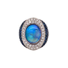 5 Carat Opal Sapphire and Diamond Gold Ring Estate Fine Jewelry