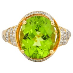 5 Carat Peridot and Diamond Ring in 18 Karat Yellow Gold