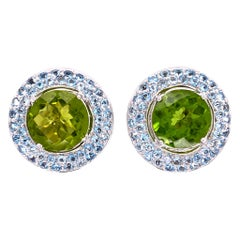 5 Carat Peridot & Aquamarine Gold Designer Earrings Laura M Fine Estate Jewelry