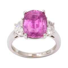 5 Carat Pink Sapphire and Diamond Ring