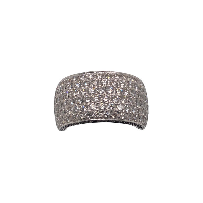 5 Carat Platinum Pave Ring For Sale