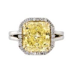 5 Carat Radiant Cut Diamond Fancy Intense Yellow GIA Engagement Ring