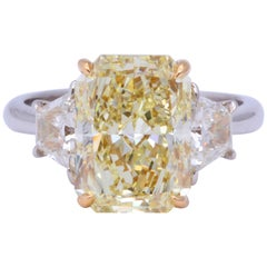 5 Carat Radiant Cut Yellow Diamond Ring GIA Certified