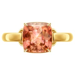 5 Carat Reddish Peach Natural Tourmaline 14 Karat Yellow Gold Ring